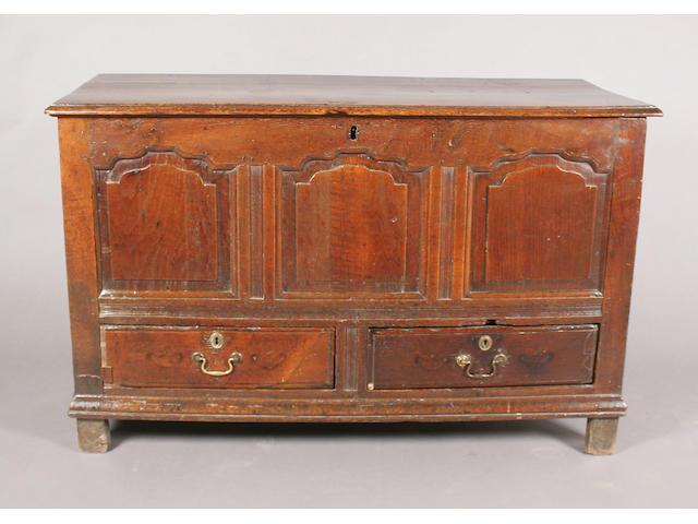An early 18th century oak mule chest