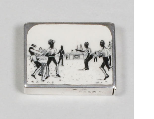 Cricketing interest- a Victorian enamel vesta case By Sampson Mordan, 1885,