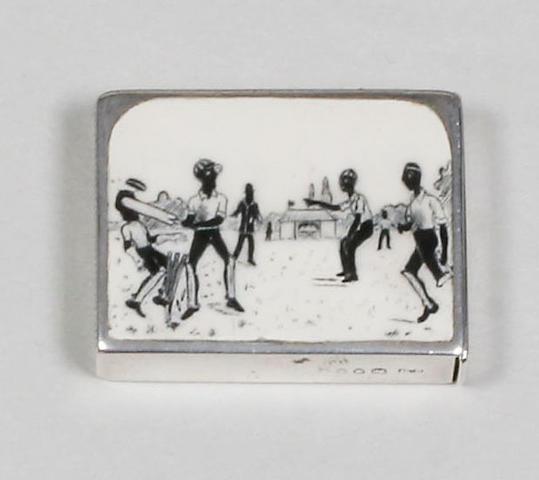 Cricketing interest- a Victorian enamel vesta case By Sampson Mordan, 1885,
