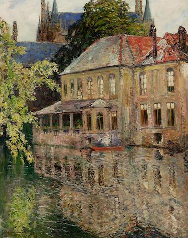 """Alexander Jamieson NEAC ROI (1873-1937) """"Le quai de Rosaire, Bruges"""""""