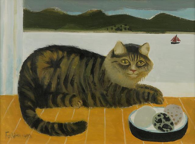Mary Fedden OBE RA PPRWA (1915-) 'Striped cat'