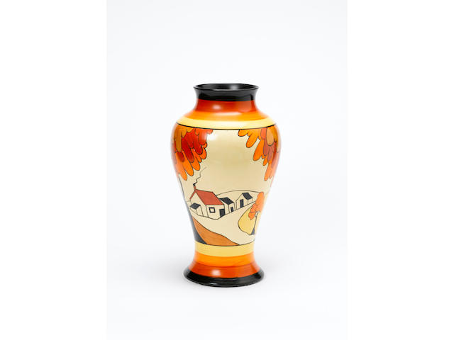 'House and Bridge'  A Large Meiping Vase