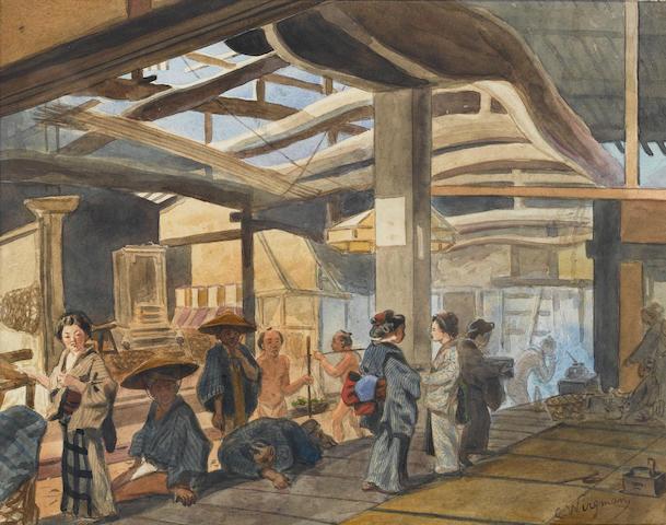 Charles Wirgman Sr. (British, 1832-1891) A Japanese market 25 x 31.5 cm. (9¾ x 12¼ in.)