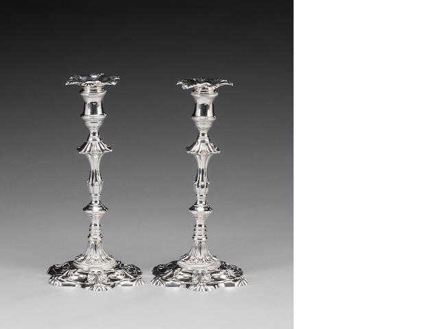 A matched pair of  George III cast silver candlesticks, by William Cafe, London 1763 / 1765,