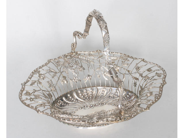 A George III swing handled basket By William Vincent, 1770,
