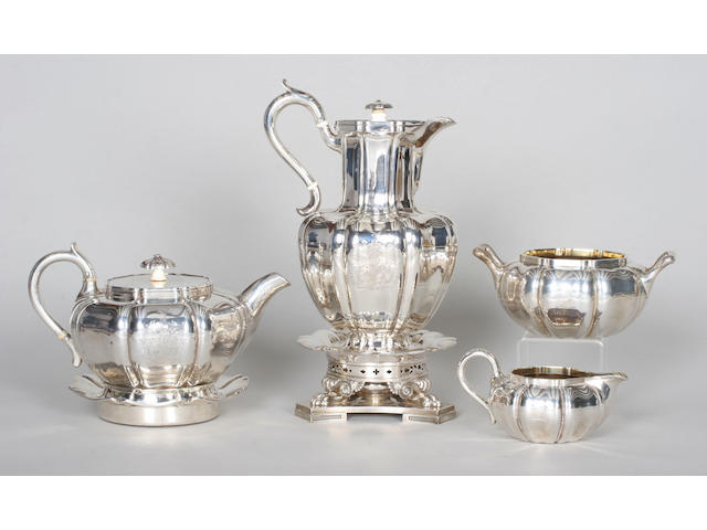 A William IV four piece tea set By John Bridge, 1832,