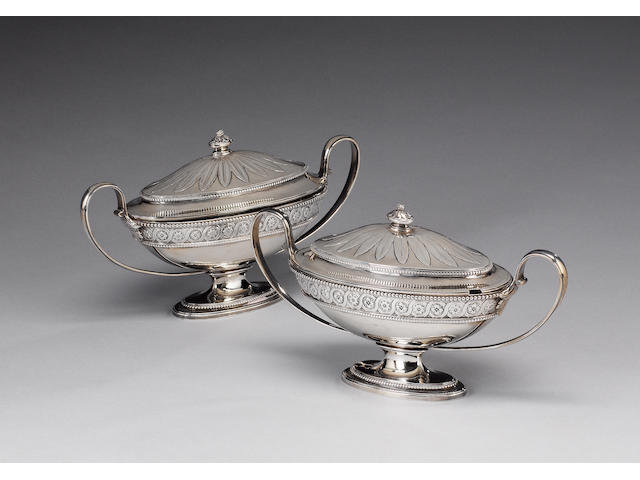 A pair of George III silver two-handled sauce tureens and unmarked covers, by Benjamin Laver, London 1782,  (4)
