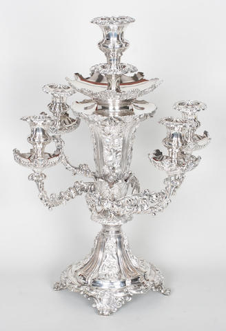 An early 19th century Old Sheffield plate candelabrum/centre-piece