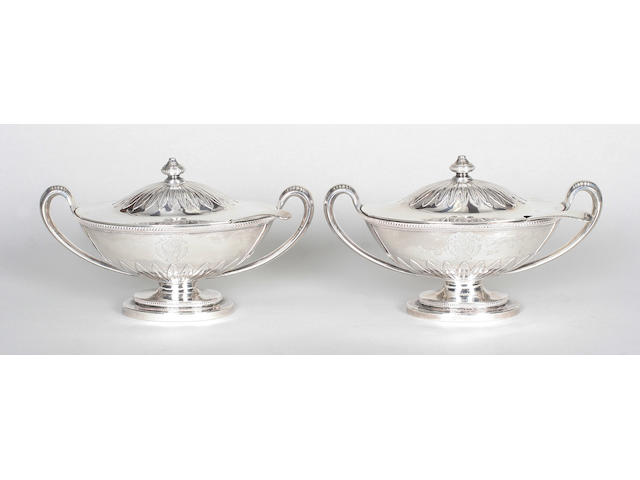 A pair of George III sauce tureens and covers By John Wakelin and William Taylor, 1785,