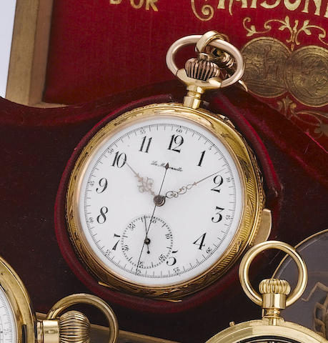 Swiss. An 18ct gold open face minute repeating pocket watch together with gold chain, seal and original presentation boxLa Maisonneite, 1900's
