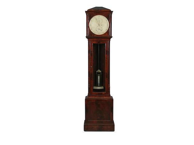 A good second quarter 19th Century mahogany regulator long-case clock, anonymous sold with mercury jar pendulum, weight and winder
