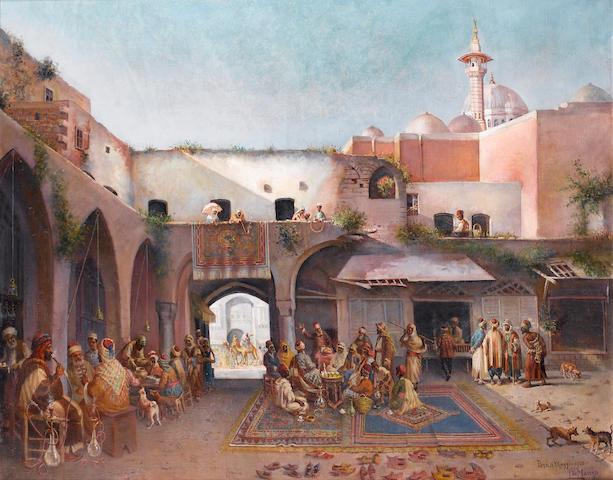 Leonardo de Mango (Italian, 1843-1931) Le Conteur populaire, Beirut 79.5 x 99 cm. (31¼ x 39 in.)