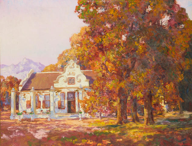Edward Roworth (South African, 1880-1964) Autumn at Morgenster, Somerset West 71 x 91.5 cm. (28 x 36 in.)