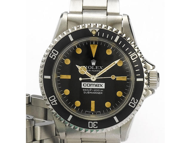 Rolex. A fine and rare stainless steel automatic centre seconds bracelet watchSubmariner, Comex 21, Ref:5513, Case No.2833549, 1970