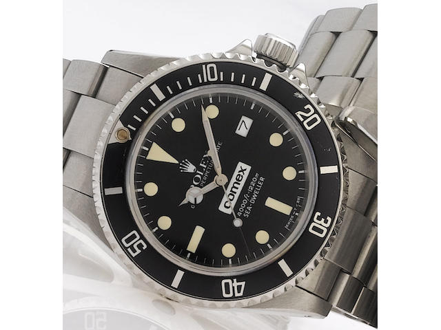 Rolex. A fine and rare stainless steel automatic calendar bracelet watch with fitted boxSea-Dweller, Comex 3041, Ref:16660, 1981