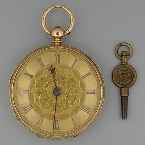 An 18 carat gold open faced key wound pocket watch Hallmarked Chester 1869