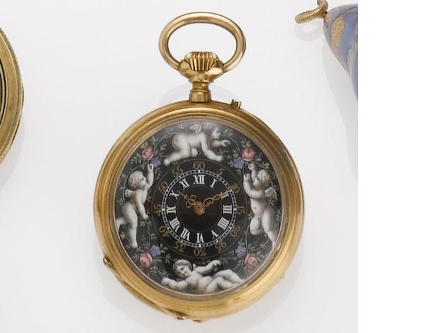 Swiss. An 18ct gold enamel decorated open face fob watch