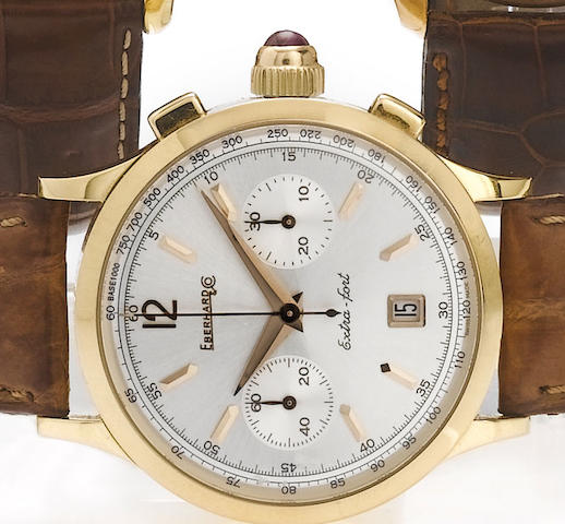 Eberhard & Co. An 18ct rose gold automatic chronograph wristwatch with original box and papers  Extra-Fort, recent