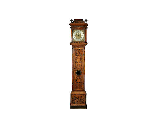 An early 18th Century and later walnut and marquetry-cased 8-day long-case clock by John Shaw of Holborn(e) sold with two weights plus pendulum