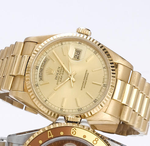 Rolex. An 18ct gold automatic calendar bracelet watch with factory box  Ref:18000, 1978