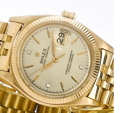 Rolex. An 18ct rose gold automatic calendar bracelet watch Ref:6605, 1950s