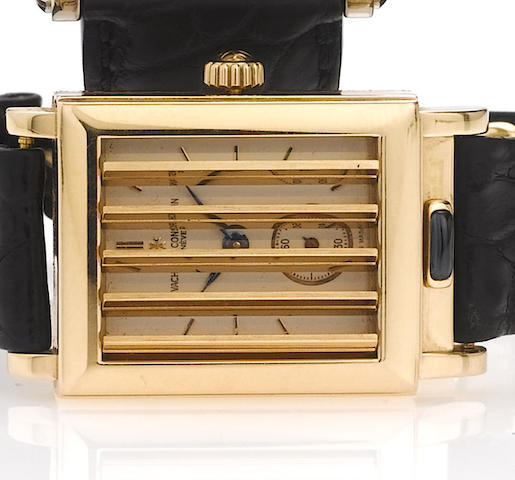 Vacheron Constantin. A fine and rare 18ct pink gold rectangular shutter wristwatchJalousie, circa 1997, No.682266