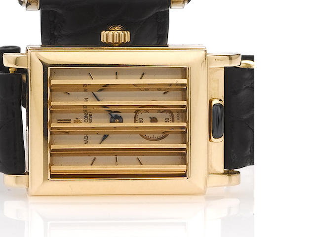 Vacheron Constantin. A fine and rare 18ct pink gold rectangular shutter wristwatch Jalousie, circa 1997, No.682266