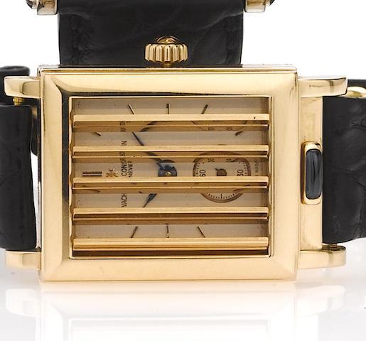 Vacheron Constantin. A fine and rare 18ct pink gold rectangular shutter wristwatch Jalousie, circa 1997, No.682266