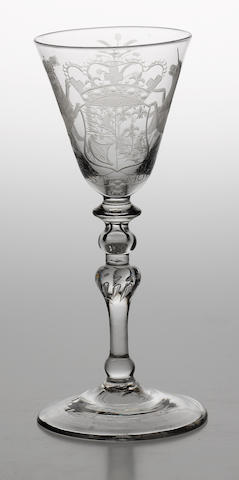 A Dutch-engraved armorial light baluster goblet circa 1750