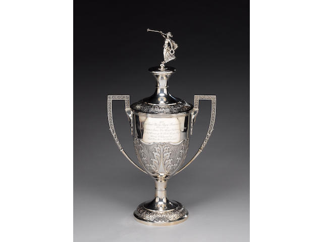 Agricultural Interest : A large silver two-handled trophy and cover, by Barker Bros, Chester 1911,