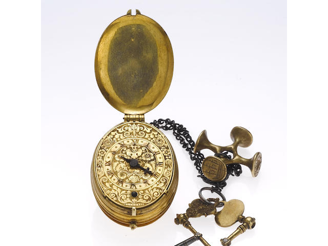 A fine and rare early 17th century oval gilt metal pre-balance spring single hand pocket watch Henry Archer, London circa 1620's