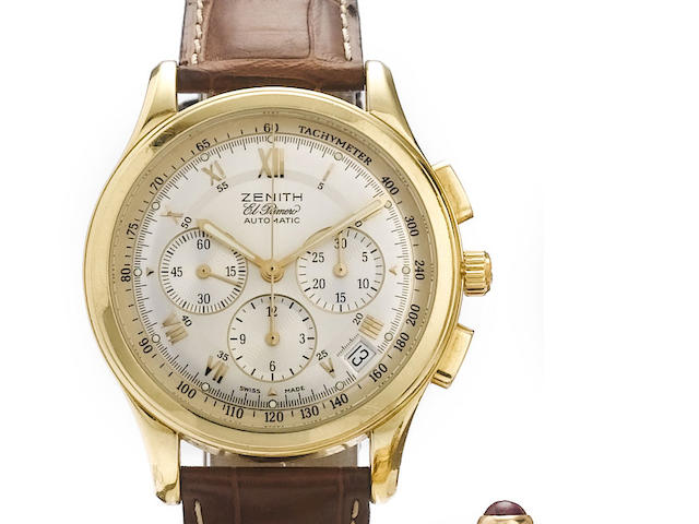 Zenith. An 18ct gold automatic chronograph wristwatch El Primero, 1990's
