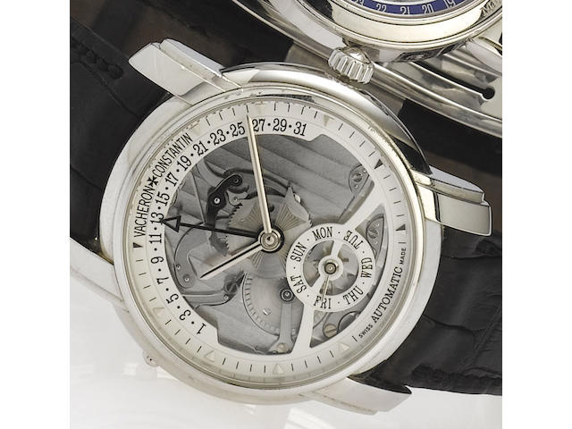 Vacheron Constantin. A fine and rare platinum automatic semi-skelotonised limited edition wristwatch with retrograde calendar Model 247, Made to commemorate the 247th anniversary of Vacheron & Constantin, No.97/247
