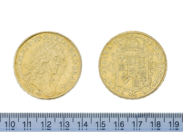 William and Mary, Five Guineas, 1692, elephant and castle below conjoined laureate busts right, GVLI