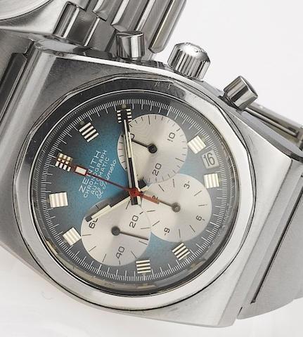 Zenith. A stainless steel automatic calendar chronograph bracelet watch  El Primero, 1970's