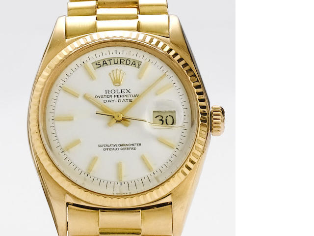 Rolex. An 18ct rose gold automatic calendar bracelet watch  Day-Date, Ref:1803, 1968