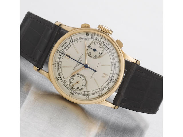 Patek Philippe. A fine and rare 18ct pink gold chronograph wristwatch with original Patek Philippe box and Extract from ArchivesRef:533, Case No.621689, Movement No.862468, Made in 1940, Sold 26 October 1940