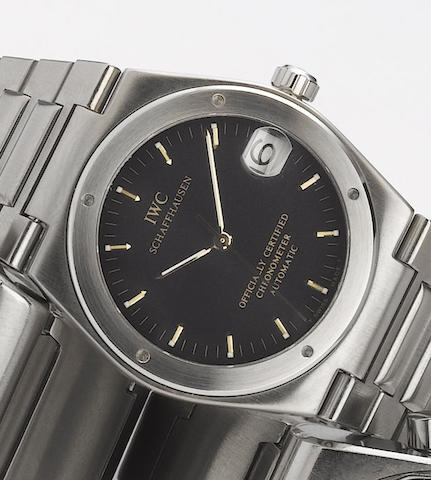 International Watch Co. A stainless steel automatic centre seconds calendar bracelet watch with box and papers  Ingenieur, Case No.2534537, 1980's