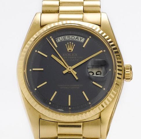 Rolex. An 18ct gold automatic calendar bracelet watchDay-Date, Ref: 1803, 1967