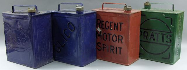 Four petrol cans,