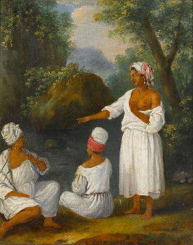 Agustin Brunais (British, 1730-1796) Women of Dominica 30.5 x 24.5 cm. (12 x 9¾ in.)