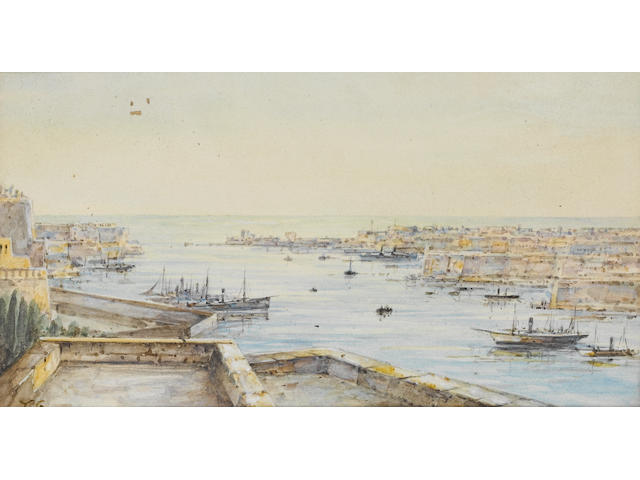 Tristram Ellis (British, 1844-1922) Vessels in the Grand Harbour, Malta, 11 x 19.5cm.