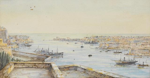 Tristram Ellis (British, 1844-1922) Vessels in the Grand Harbour, Malta, 11 x 19.5cm.