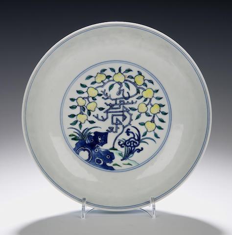 A doucai enamel saucer dish Qianlong seal mark but later