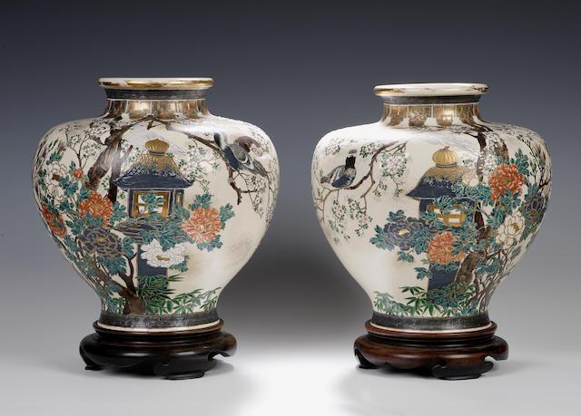 A pair of Imperial Satsuma vases Meiji period