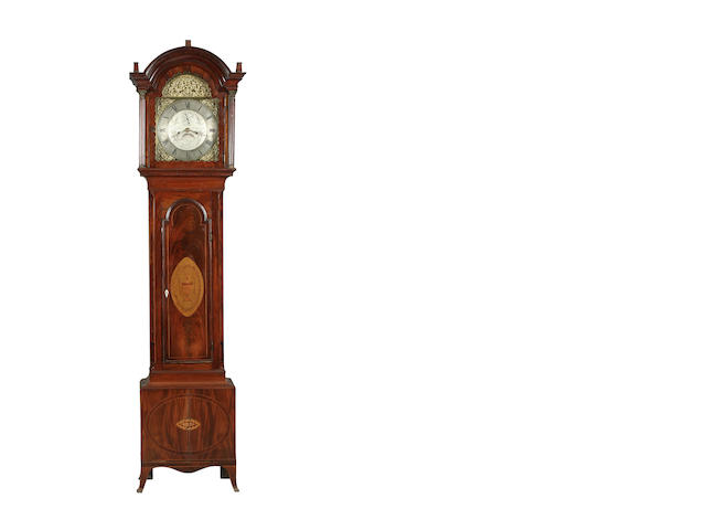A late 18th Century inlaid mahogany longcase clock; composite,
