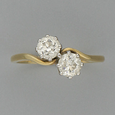 A diamond two-stone cross-over ring