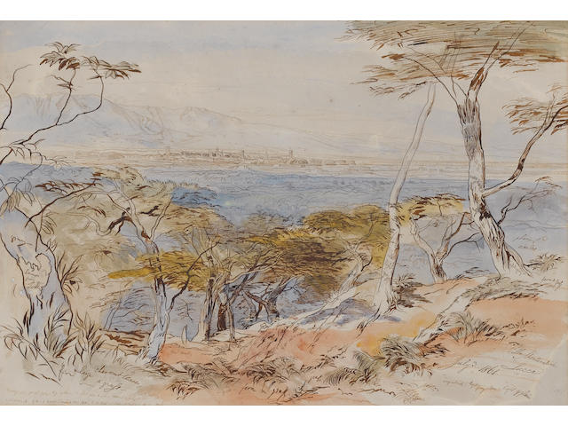 Edward Lear (British 1812-1888) Lucca from the Villa Montecatini, Italy 36 x 53 cm. (14 x 20 3/4 in.