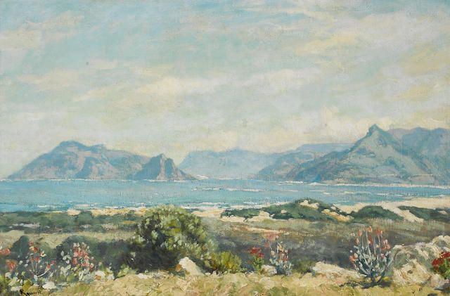Edward Roworth (South African, 1880-1964) The Cape Peninsula, behind Table Mountain 50 x 75 cm. (19¾ x 29½ in.)
