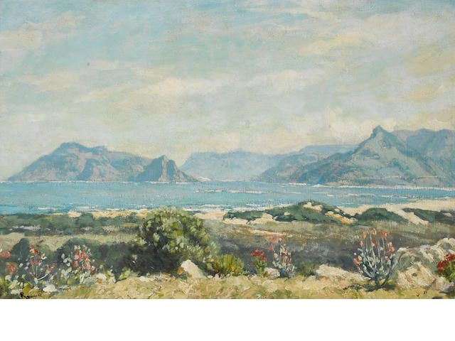 Edward Roworth (South African, 1880-1964) The Cape Peninsula, behind Table Mountain 50 x 75 cm. (19¾